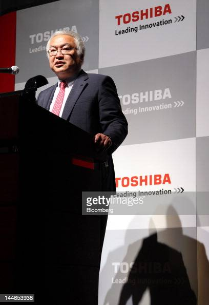 Norio Sasaki president and chief executive officer of Toshiba Corp speaks during a news conference in Tokyo Japan on Thursday May 17 2012 Toshiba...