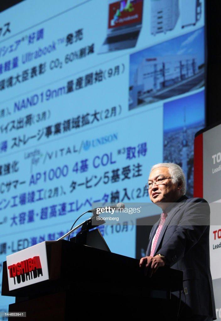 Toshiba President Norio Sasaki News Conference On Mid-Term Management Strategy