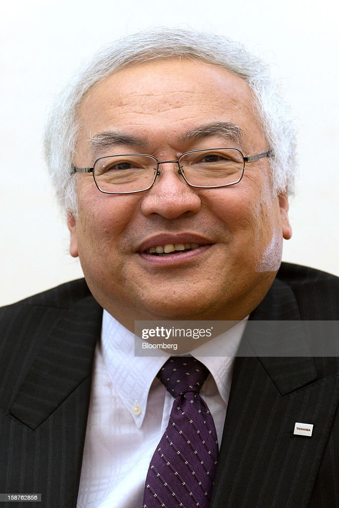 <a gi-track='captionPersonalityLinkClicked' href=/galleries/search?phrase=Norio+Sasaki+-+Businessman&family=editorial&specificpeople=14807134 ng-click='$event.stopPropagation()'>Norio Sasaki</a>, president and chief executive officer of Toshiba Corp., poses for a photograph after an interview in Tokyo, Japan, on Friday, Dec. 28, 2012. Toshiba Corp., the Japanese builder of nuclear reactors, is in talks to sell as much as 36 percent of its Westinghouse Electric atomic-power unit as industry growth slows after last year's meltdowns in Fukushima. Photographer: Noriyuki Aida/Bloomberg via Getty Images