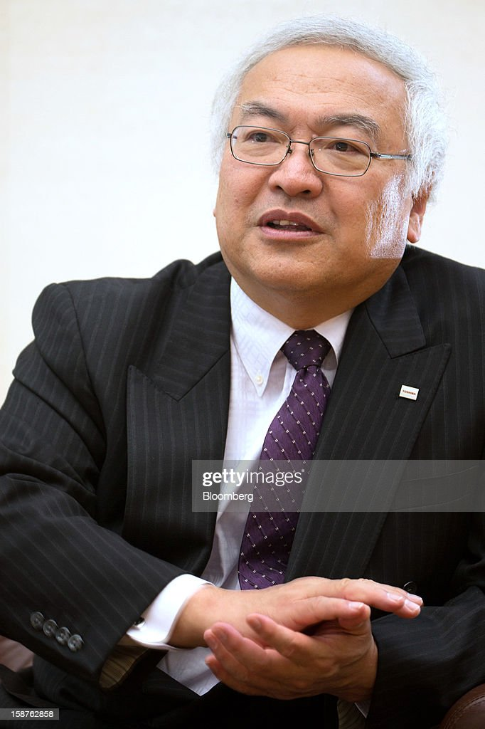 <a gi-track='captionPersonalityLinkClicked' href=/galleries/search?phrase=Norio+Sasaki+-+Businessman&family=editorial&specificpeople=14807134 ng-click='$event.stopPropagation()'>Norio Sasaki</a>, president and chief executive officer of Toshiba Corp., speaks during an interview in Tokyo, Japan, on Friday, Dec. 28, 2012. Toshiba Corp., the Japanese builder of nuclear reactors, is in talks to sell as much as 36 percent of its Westinghouse Electric atomic-power unit as industry growth slows after last year's meltdowns in Fukushima. Photographer: Noriyuki Aida/Bloomberg via Getty Images