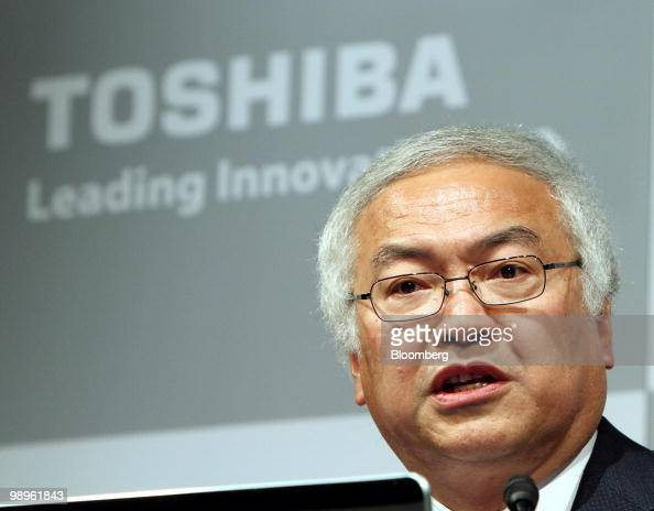 Norio Sasaki president and chief executive officer of Toshiba Corp speaks during a news conference in Tokyo Japan on Tuesday May 11 2010 Toshiba Corp...