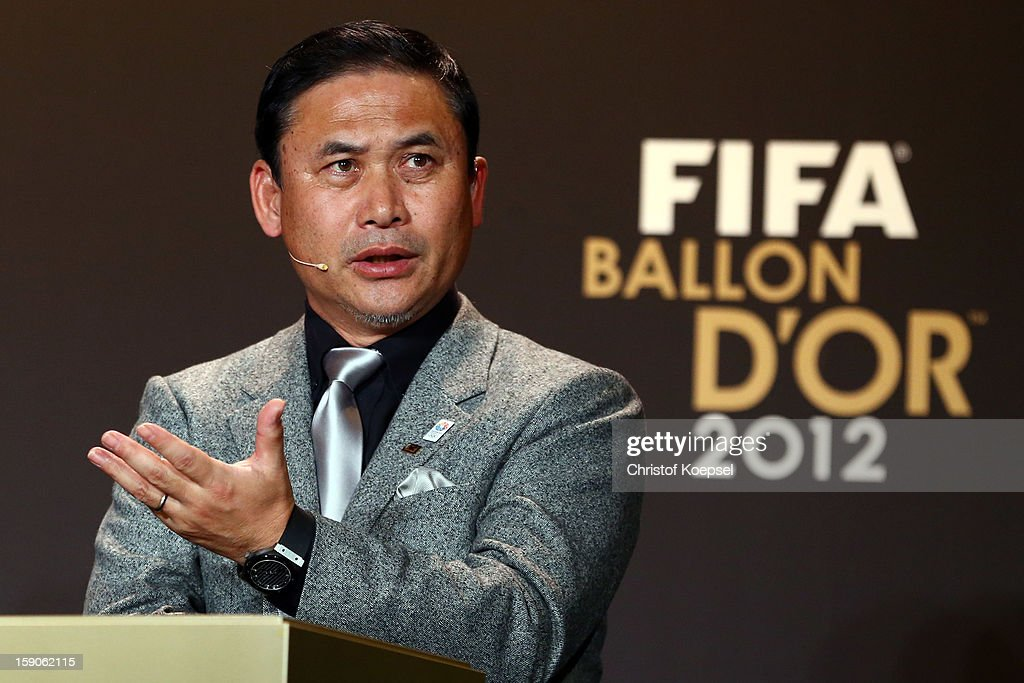 Norio Sasaki, women's coach of Japan attends the Press Conference with nominees for Women's World Player of the Year and World Coach of the Year for Women's Football on January 7, 2013 at Congress House in Zurich, Switzerland.
