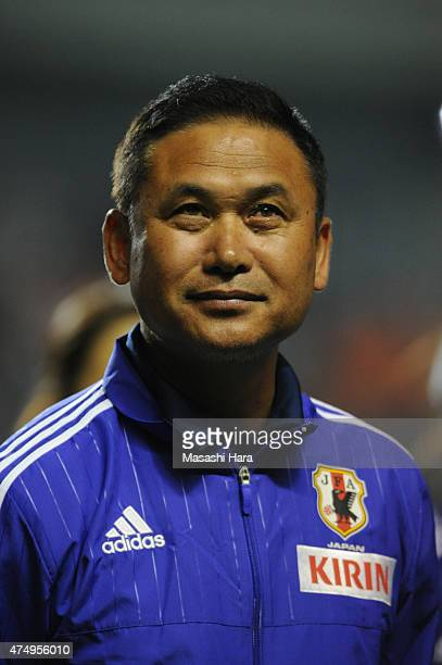 Norio Sasakicoach of Japan looks on after the Kirin Challenge Cup 2015 women's soccer international friendly match between Japan and Italy at Minami...