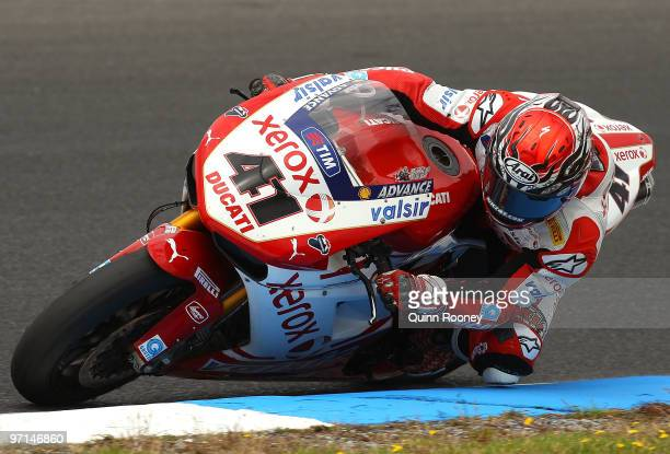 Noriyuki Haga of Japan and the Ducati Xerox Team rounds the bend during the Superbike World Championship round one race one at Phillip Island Grand...