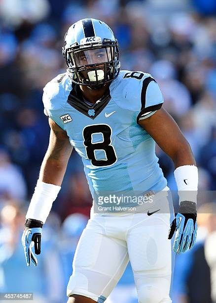 Norkeithus Otis of the North Carolina Tar Heels during play against the Duke Blue Devils at Kenan Stadium on November 30 2013 in Chapel Hill North...