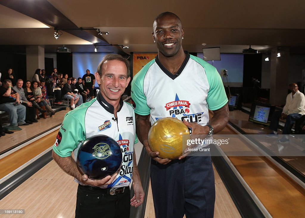Norm Duke and <a gi-track='captionPersonalityLinkClicked' href=/galleries/search?phrase=Terrell+Owens&family=editorial&specificpeople=179474 ng-click='$event.stopPropagation()'>Terrell Owens</a> attend the 2013 Chris Paul PBA League All-Stars Invitational Bowling Tournament at Lucky Strike Lanes at L.A. Live on January 7, 2013 in Los Angeles, California.