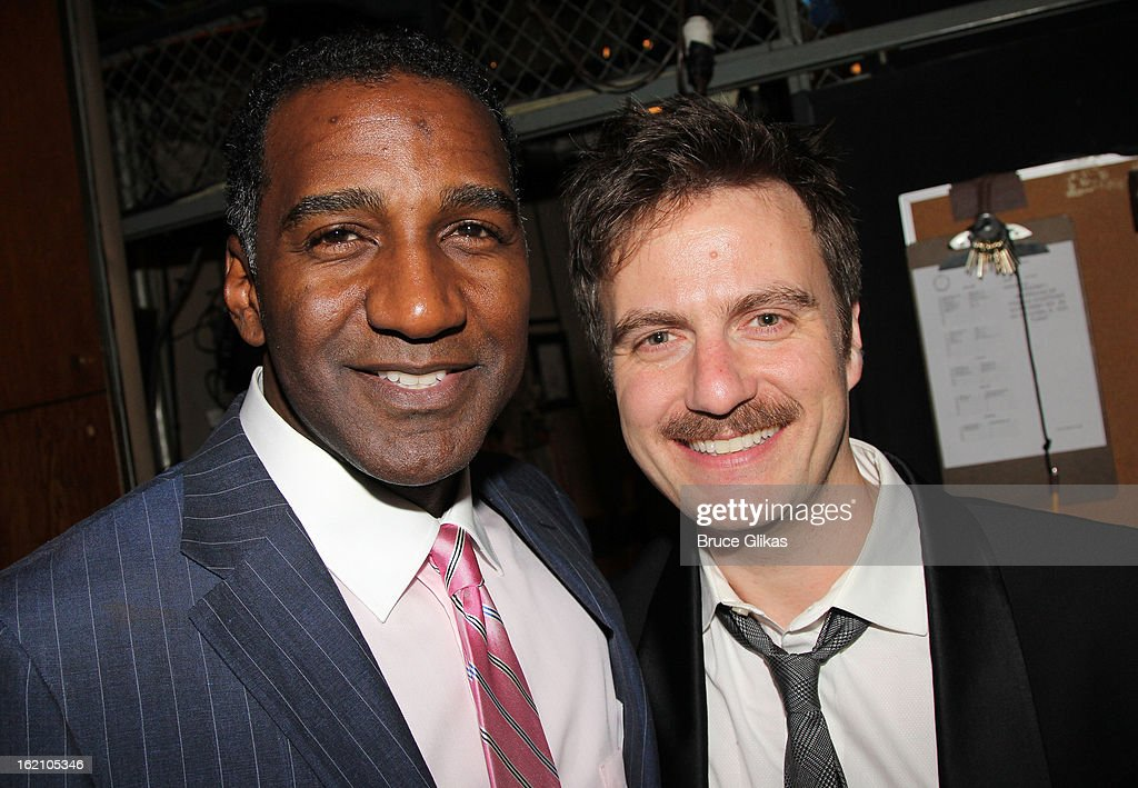 Norm Lewis and Manoel Felciano pose backstage at 'Ragtime' on Broadway at Avery Fisher Hall on February 18, 2013 in New York City.