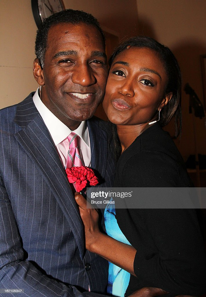 Norm Lewis and Patina Miller pose backstage at 'Ragtime' on Broadway at Avery Fisher Hall on February 18, 2013 in New York City.