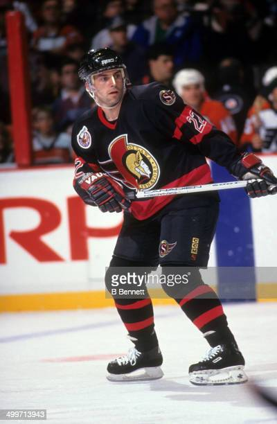 Norm Maciver of the Ottawa Senators skates on the ice during an NHL game against the Philadelphia Flyers on February 9 1993 at the Spectrum in...
