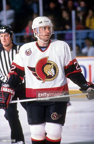 Norm Maciver of the Ottawa Senators skates on the ice during an NHL game against the St Louis Blues on January 26 1993 at the St Louis Arena in St...