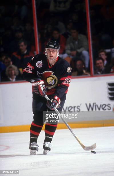 Norm Maciver of the Ottawa Senators skates with the puck during an NHL game against the Philadelphia Flyers on November 15 1992 at the Spectrum in...