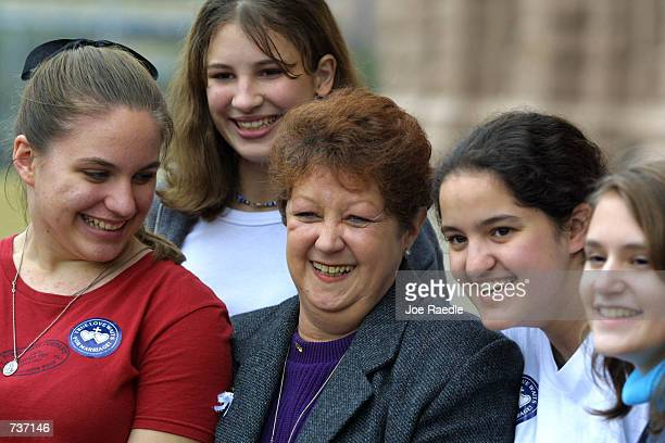 Norm McCorvey the 'Jane Roe' of Roe v Wade is surrounded by young people January 27 2001 during an antiabortion rally in Austin Texas The rally...