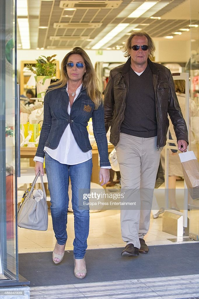 Norma Duval and his German boyfriend Mathias Khun are seen on April 17 2014 in Palma de Mallorca Spain