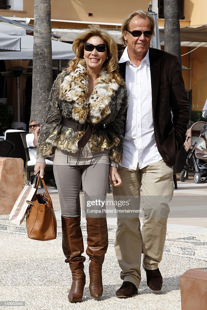 Norma Duval and Mathias Kuehn are seen the day of Norma Duval's 56th birthday on April 4 2012 in Ibiza Spain