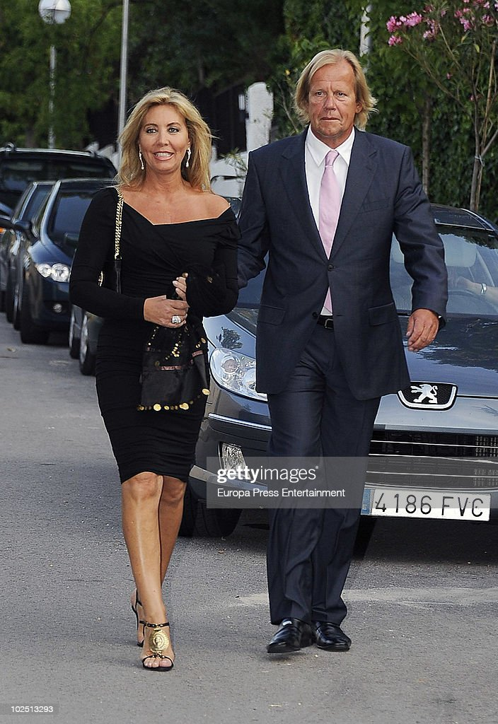 Norma Duval and Matias Khun attend the christening of Paloma Segrelles and Emilio Alvarez's daughters Paloma and Tiziana on June 28 2010 in Madrid...