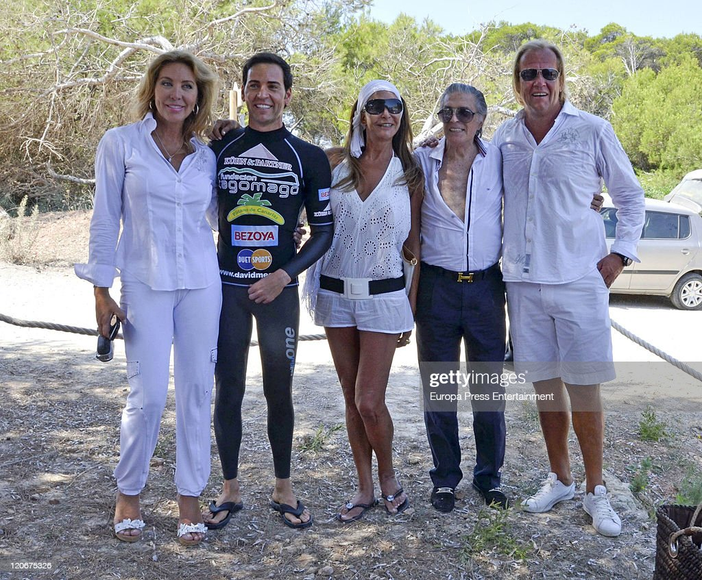 Norma Duval David Meca Maria Angeles Grajal Jaime Ostos and Mathias Kuehn attend the Norma Duval Party in Tagomago private island of her boyfriend...