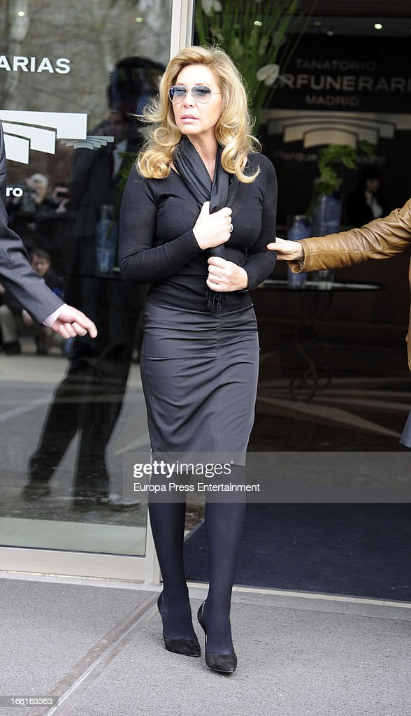 Norma Duval is seen at San Isidro funeral chapel for Sara Montiel on April 8 2013 in Madrid Spain
