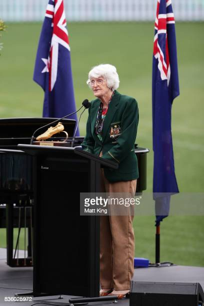 Norma Fleming speaks during a State Memorial service for Betty Cuthbert at Sydney Cricket Ground on August 21 2017 in Sydney Australia Betty Cuthbert...