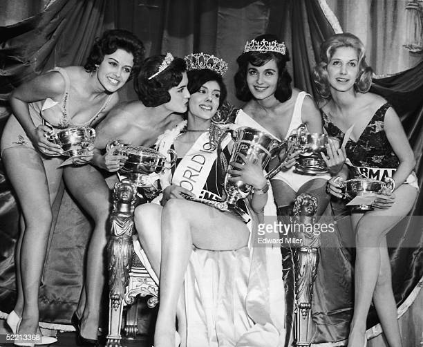 Norma Gladys Cappagli of Argentina with four runners up after being crowned Miss World 1960 at the Lyceum ballroom London 8th November 1960 With her...