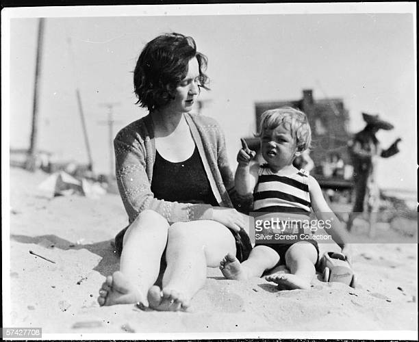 Norma Jeane Baker future film star Marilyn Monroe on the beach as a toddler with her mother Gladys Baker circa 1929