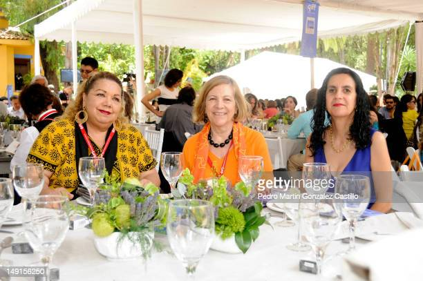 Normahilda Castañares Mirna Diaz Infante and Catherine Bloch pose for a picture during the event Mujeres en el Cine y Television in the XV...