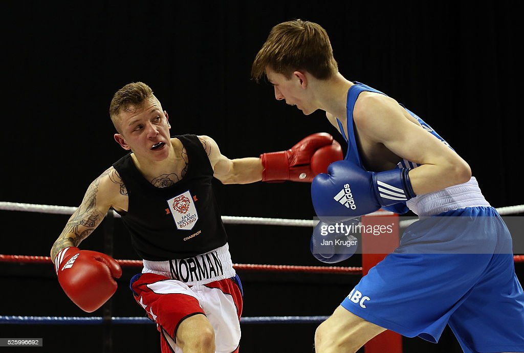 Norman Benn(red) in action against Rankin Scott in their 49kg fight during day one of the Boxing Elite National Championships at Echo Arena on April 29, 2016 in Liverpool, England.