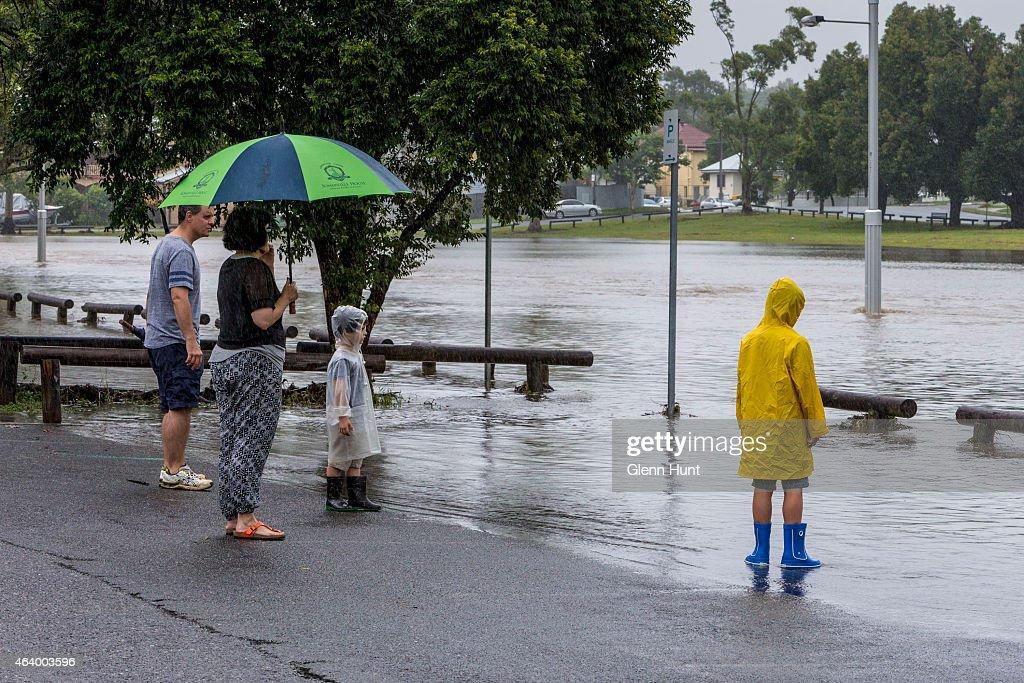 Norman Creek overflows at Stones Corner after a deluge of rain that has fallen from the remnants of Cyclone Marcia on February 21 2015 in Brisbane...