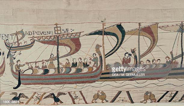 Norman fleet sets sail for England detail of Queen Mathilda's Tapestry or Bayeux Tapestry depicting Norman conquest of England in 1066 France 11th...