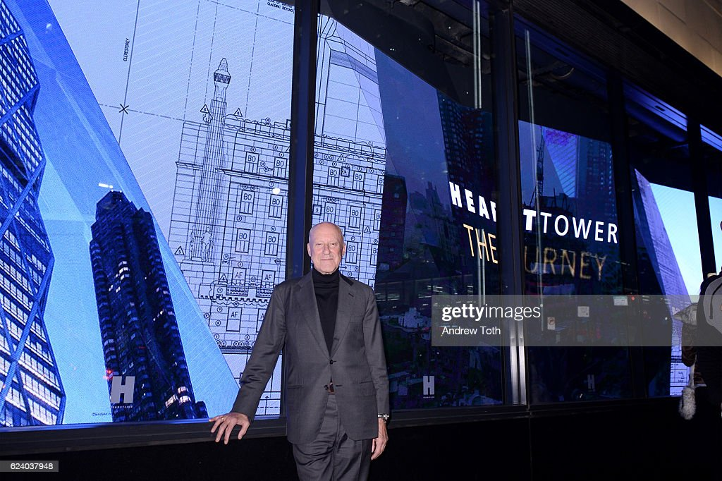 norman foster attends building with history the exhibit at hearst tower on november