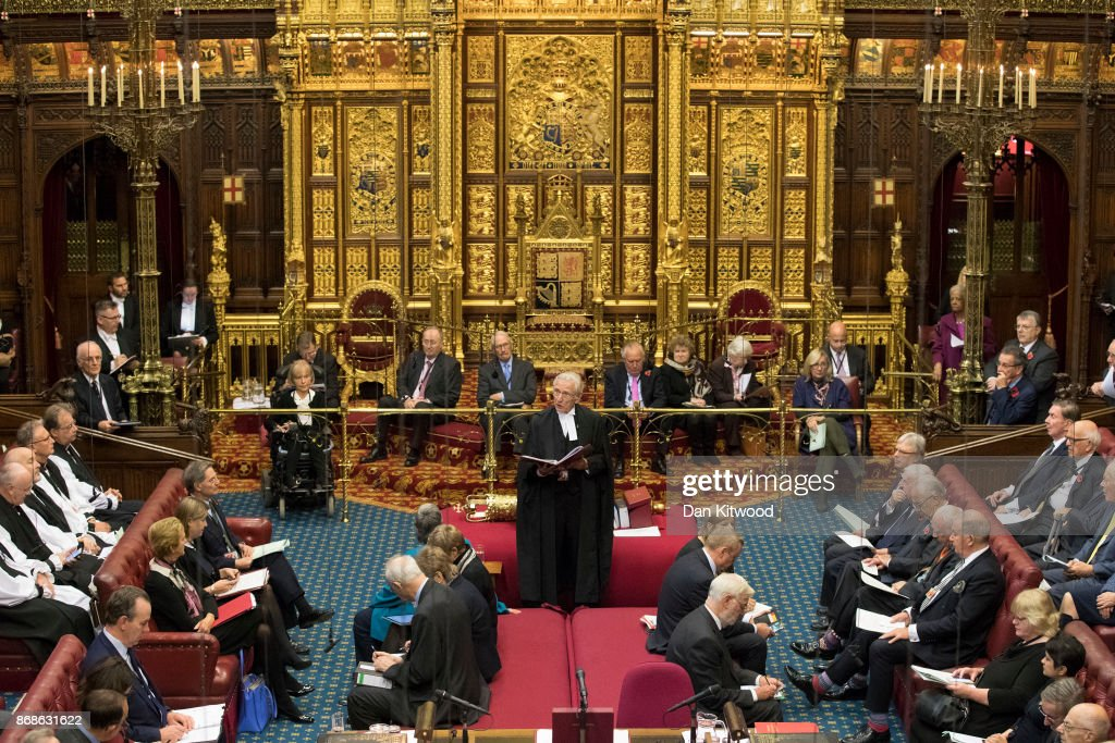 Norman Fowler, the Lord Speaker delivers a report to members in The House of Lords chamber as it sits in session at the Houses of Parliament on October 31, 2017 in London, England. The report into the future of the upper chamber has recommended that the House of Lords should be reduced in size by a quarter to no more than 600 members.