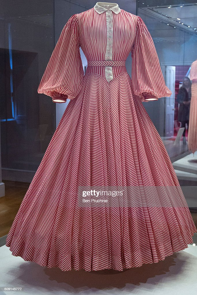 A Norman Hartnell dress worn by Princess Margaret is displayed at the Fashion Rules Exhibition at Kensington Palace on February 9, 2016 in London, England. The exhibition, that re-opens to the public on February 11, contains pieces including the dress Queen Elizabeth II wore for her official Silver Jubilee photograph and a dress worn by Diana, Princess of Wales for her last official photo shoot with famed photographer Mario Testino