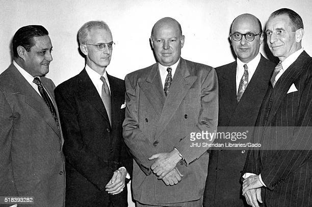 Norman K American television host Lynn Poole Dr Allen B DuMont executive Ben Cohen and magazine editor Edward Weeks are standing left to right for a...