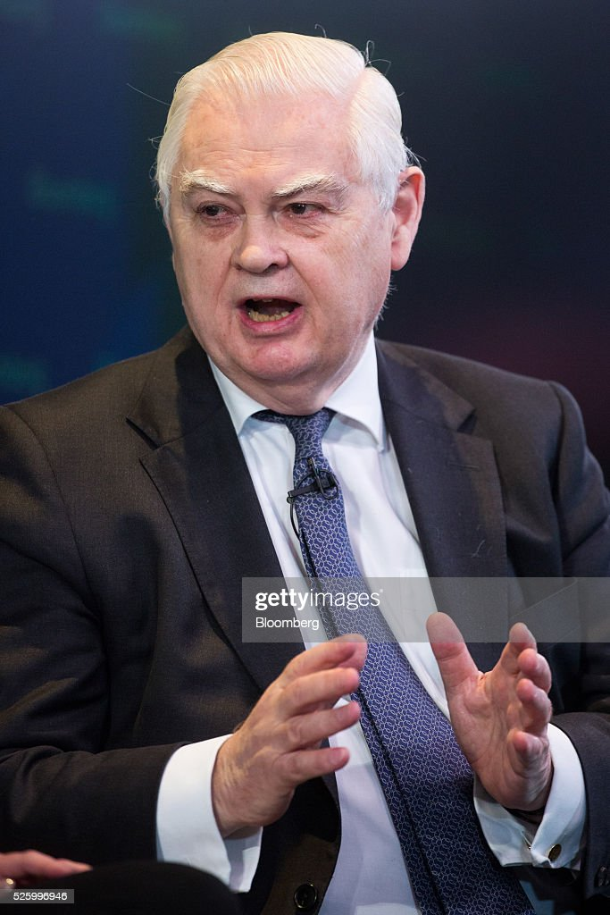 Norman Lamont, former U.K. chancellor of the exchequer, gestures whilst he speaks during a debate entitled 'The Implications of Brexit' in London, U.K., on Friday, April 29, 2016. U.K. Prime Minister David Cameron said he'll hold a long-pledged referendum on the U.K.s membership of the European Union on June 23. Photographer: Jason Alden/Bloomberg via Getty Images