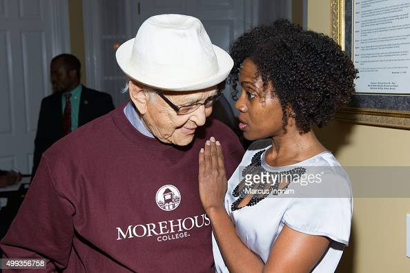 Norman Lear and Dr Stephane Dunn attend an intimate gathering in honor of Norman Lear at Morehouse College on November 30 2015 in Atlanta Georgia