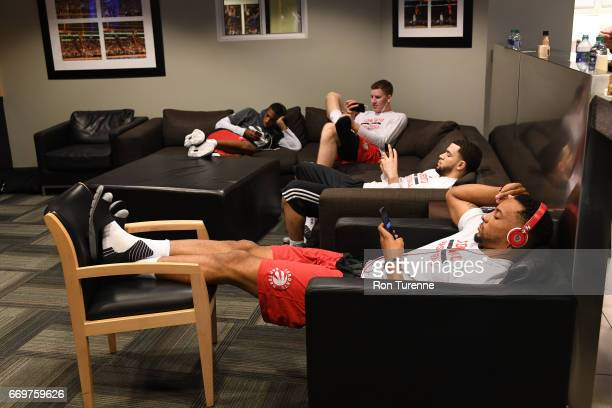 Norman Powell Fred VanVleet Jakob Poeltl and Delon Wright of the Toronto Raptors get ready before the Round One of the Eastern Conference Playoffs...