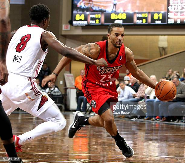 Norman Powell of the Raptors 905 drives to the basket against Bubu Palo of the Sioux Falls Skyforce at the Sanford Pentagon December 22 2015 in Sioux...