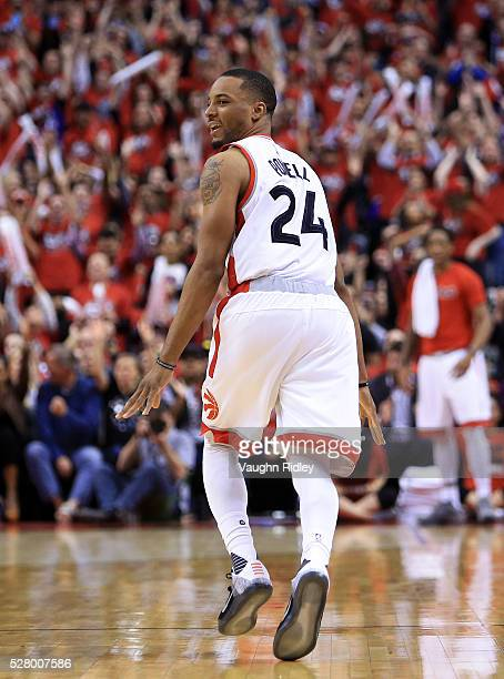 Norman Powell of the Toronto Raptors celebrates a 3 pointer late in the second half of Game Seven of the Eastern Conference Quarterfinals against the...