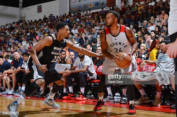 Norman Powell of the Toronto Raptors defends the ball against the Minnesota Timberwolves during the 2016 Las Vegas Summer League on July 10 2016 at...