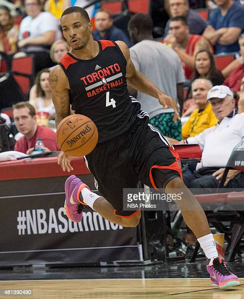 Norman Powell of the Toronto Raptors dribbles the ball during the 2015 NBA Las Vegas Summer League game against the Houston Rockets on July 13 2015...