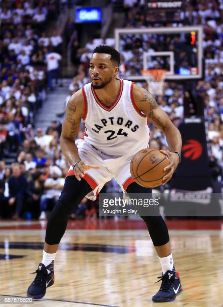 Norman Powell of the Toronto Raptors dribbles the ball in the first half of Game Three of the Eastern Conference Semifinals against the Cleveland...