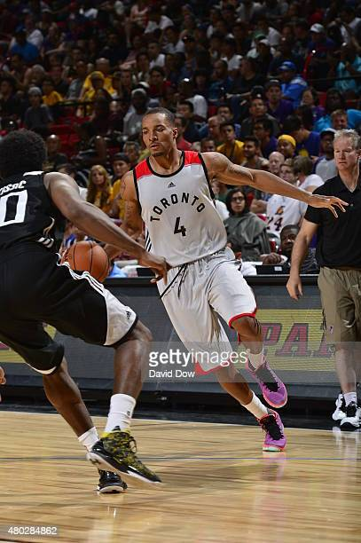 Norman Powell of the Toronto Raptors drives to the basket against the Sacramento Kings on July 10 2015 at the Thomas Mack Center in Las Vegas Nevada...