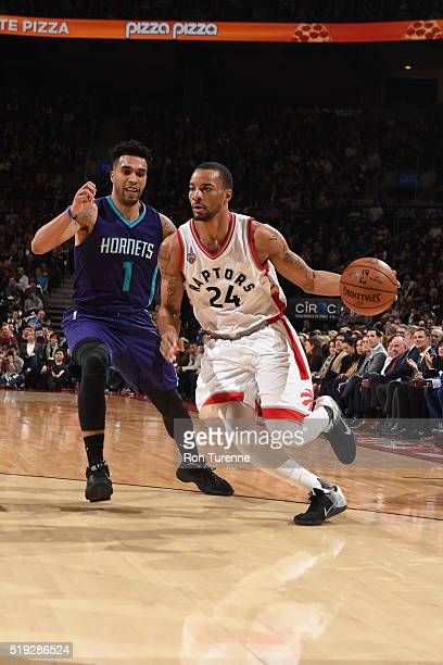 Norman Powell of the Toronto Raptors drives to the basket against the Charlotte Hornets during the game on April 5 2016 at Air Canada Centre in...