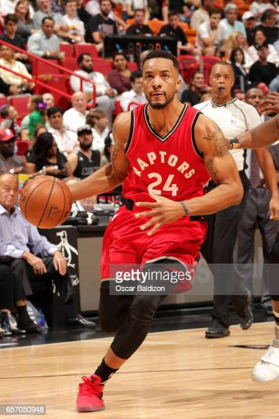 Norman Powell of the Toronto Raptors drives to the basket during the game against the Miami Heat on March 23 2017 at AmericanAirlines Arena in Miami...