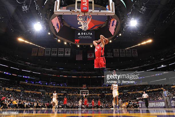Norman Powell of the Toronto Raptors dunks against the Los Angeles Lakers on January 1 2017 at STAPLES Center in Los Angeles California NOTE TO USER...