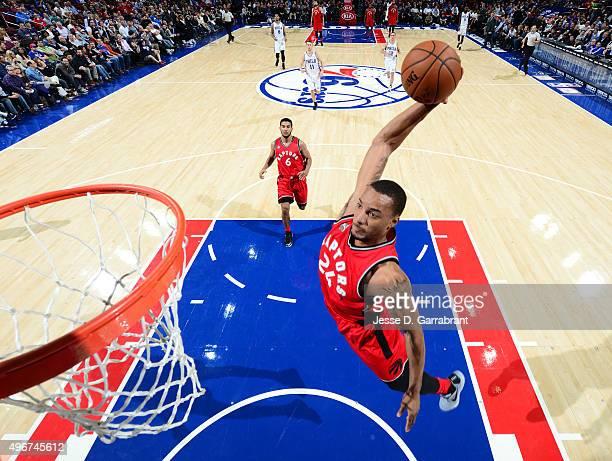 Norman Powell of the Toronto Raptors dunks the ball against the Philadelphia 76ers at Wells Fargo Center on November 11 2015 in Philadelphia...