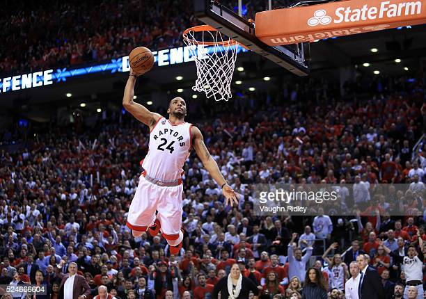 Norman Powell of the Toronto Raptors dunks the ball late in the second half of Game Five of the Eastern Conference Quarterfinals against the Indiana...