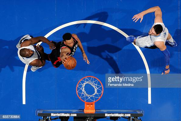 Norman Powell of the Toronto Raptors goes for the dunk during the game against the Orlando Magic on February 3 2017 at Amway Center in Orlando...