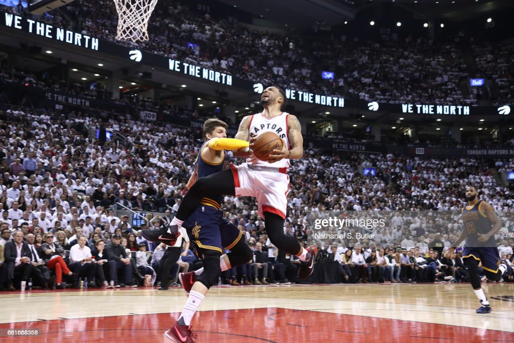 Norman Powell #24 of the Toronto Raptors goes to the basket against the Cleveland Cavaliers during Game Three of the Eastern Conference Semifinals of the 2017 NBA Playoffs on May 5, 2017 at the Air Canada Centre in Toronto, Ontario, Canada.