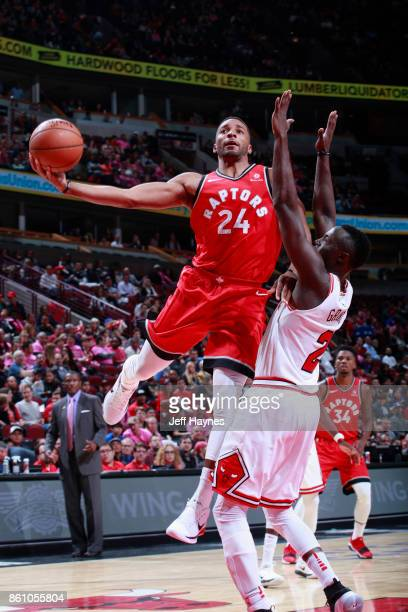 Norman Powell of the Toronto Raptors goes to the basket against the Chicago Bulls on October 13 2017 at the United Center in Chicago Illinois NOTE TO...