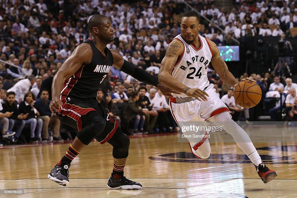 Norman Powell #24 of the Toronto Raptors handles the ball against the Miami Heat in Game Two of the Eastern Conference Semifinals on May 5, 2016 at the Air Canada Centre in Toronto, Ontario, Canada.